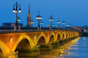 Cityscape of Bordeaux in a summer night